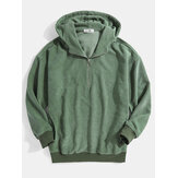 Mens Corduroy Half Zipper Bodycon Hem Simple Hoodies