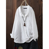 Women Lapel Solid Color Cotton Button Down Blouse