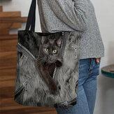 المرأة قماش ثلاثي الأبعاد جميل القطط لطيف نمط حقيبة يد حمل حقيبة الكتف