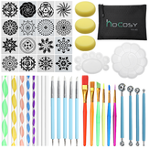 45Pcs Mandala Dotting Strumenti Set Rock Painting Kit Chiodo Art Craft Pen Paint Stencil Forniture per adulti e bambini con spazio di archiviazione Borsa
