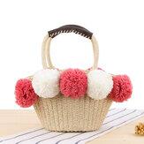 Women Travel Woven Beach Bag Cute Contrast Plush Ball Straw Handbag