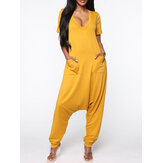 Women Short Sleeve V-neck Loose Pocket Harem Jumpsuits