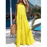 Mujer Color sólido Sin mangas Redondo Cuello Amarillo Maxi plisado Vestido Con bolsillo