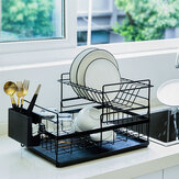 Dish Rack Organizer Drainer Kitchen Utensils Spoons Plates Drain Shelf Storage