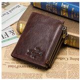Tyverisikret mænd RFID Blokering af ægte læder tre lynlås tegnebog