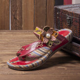 SOCOFY Retro Flower Printing Leather Comfy Flat Stripe Thong Sandals