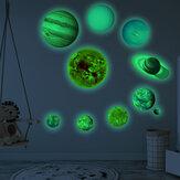 Système solaire autocollants lumineux neuf planètes autocollants fluorescents auto-adhésifs pour enfants bébé chambre décoration murale