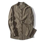 Men Cotton Linen Fit Chinese Style Frog Button Autumn Jacket