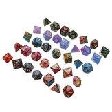 35 stks Acryl Polyhedrale Dobbelstenen 7 Kleuren Diverse Vorm Dobbelstenen Met Zakken voor DND RPG MTG Rollenspel Bordspel