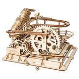3D Self-Assembly Wooden Marble Run Handcrank Waterwheel Magic Crush Puzzle Model Building Kits Mechanical Model Gift