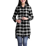 Casual Lady Plaid Print Camisa de manga comprida assimétrica