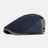 Men Wool British Style Contrast Color Warm Casual Knitted Forward Hat Beret Hat