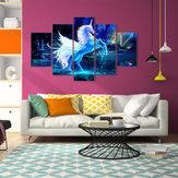 5 Unids Unicornio Flores Abstractas Impresión de la Lona Imagen de la Pintura Arte de la Pared Decoración Arte de Papel