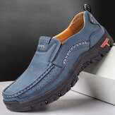 Mænd Retro Microfiber Leather Comfy Slip-on Outdoor Non Slip Casual Flat Shoes
