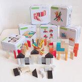 3D Puzzle Wood Blocks Toys Kids Intelligence Development Tangram Early Education Block Jigsaw