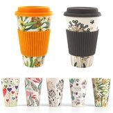 300-450ミリリットルポータブル旅行再利用可能な竹繊維コーヒーカップ環境に優しい水飲むマグ