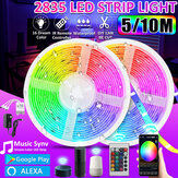 16FT/32FT 5M/10M 2835 RGB IP65 LED Strip Light+bluetooth WiFi Controller+24Keys Remote Control+12V Power Work with Google Alexa Christmas Decorations Clearance Christmas Lights