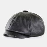 Uomo in pelle PU retrò stile britannico Autunno Inverno Mantieni caldo cappello ottagonale Cappello da strillone