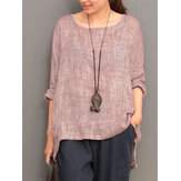 Irregular Crew Neck Casual Blouse