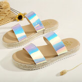 Women Double Gradient Color Strap Comfy Non Slip Espadrille Platform Sandals