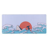 Coral Sea/Ukiyo-E Red/Dark Messenger Mouse Pad Large Keyboard Pad Desktop Non-slip Table Mat for Home Office