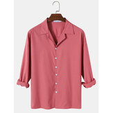 Mens Cotton Solid Color Camp Collar Long Sleeve Simple Shirts