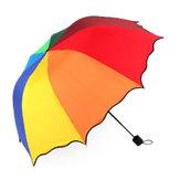 Honana HN-KU5 Multicolor Flouncing Dome Зонтик Складной зонт Солнечный дождь Ветер для девушек-леди