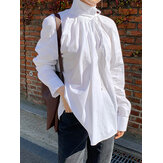 Women Lace-Up High Neck Bohemian Casual Solid Long Sleeve Blouse