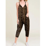 Sleeveless V-neck Harem Jumpsuits Leopard Animal Print Pocket Overalls For Women