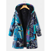 Vintage Floral Print Fleece Thick Plus Size Hooded Coat With Pockets