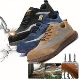 AtreGo Mens Steel Toe Safety Shoes Breathable Work Boots Outdoor Hikng Sneakers