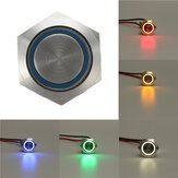 12V 5 Pin 19mm Led Light Aço inoxidável Push Button Momentâneo Switch Sliver