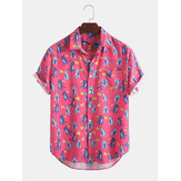 Herren Casual Cartoon Print Sommer Hawaii Beach Kurzarm Shirts