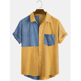 Thin Corduroy Solid Patchwork Turn Down Collar Chest Pocket Short Sleeve Shirts