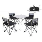 Hewolf 5 PCS cámping Juego de sillas de mesa pesca Sillas portátiles cómodas sillas plegables de picnic Mesas al aire libre Playa Viajes