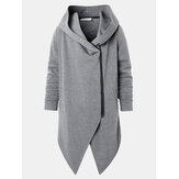 Mens Hooded Zipper Pocket Symmetry Hem Dark Grey Cardigan