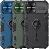 Nillkin per iPhone 12 Pro Max Pro Custodia protettiva Armor Scivolo anti-capolino lente Cover con staffa Cover posteriore antiurto anti-graffio