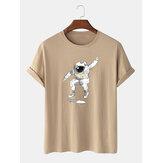Heren Casual 100% katoenen Astronaut bedrukte T-shirts met ronde hals en korte mouwen