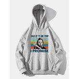 Mens Slogan Figure Pattern Print Loose Casual Pullover Hoodie