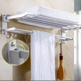Wall Mounted Towel Holder Rack Hook Hanger Bar Shelf Rail Storage Kamar Mandi Hotel