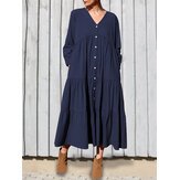 Women Cotton V-Neck Button Front Long Sleeve Casual Layered Dress