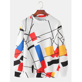 Mens Design Color Block Pullover Drop Shoulder Sweatshirts