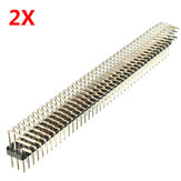 2Pcs 2.54mm 3x40P Macho Pines Tres filas de ángulo recto Pin Header