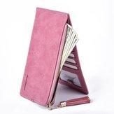 Женское Ультра тонкие слоты для карт памяти Кожаный кошелек длиной Кошелек Телефон Сумка