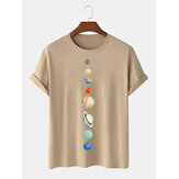 Mens 100% Cotton Planet Print Crew Neck Short Sleeve T-Shirts