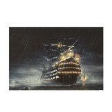 1 darab vászonkép festmény esős éjszakai vitorlás hajó fal dekoratív művészet kép keret nélküli fali akasztó otthoni irodai dekoráció