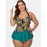 Plus Size Ethnic Halter Printed Cover Belly Swimdress Swimwear