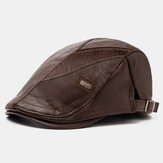 Collrown Men PU Leather Retro Casual Solid Color Newsboy Шапка Forward Шапка Beret Шапка