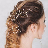Gold Plated Alloy Pearl Hairclip Handmade Bride Hairpin for Women