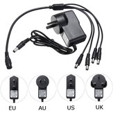 5.5x2.1mm DC 12V 1A Power Supply Adapter for CCTV Security Camera DVR + 4 Split Power Cable